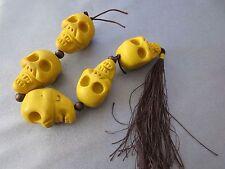 Yellow Soft Polymer Carved Skull w/ Tassel Beads 5pcs