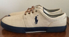 Polo Ralph Lauren Mens Size 16 D Faxon Low Canvas Casual Tennis Shoes Beige Tan
