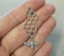 2 Metal Antique Silver Colour Bee and Honeycomb Charms - 46mm