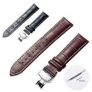 16-22mm Remplacement Bracelet de Montre en Cuir Veritable avec Fermoir Papillon
