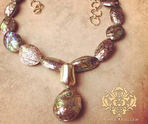 Abalone Paua Extra Large Necklace Big Rainbow Prism Sea Opals Gold Tone Pendant