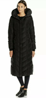 NWT Women's Steve Madden Chevron Maxi Puffer Jacket with Removable Hood