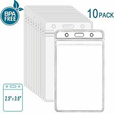 ID Card Holder Clear Plastic Badge Resealable Waterproof Business Case 10 Pcs