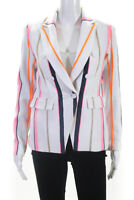 Drew Womens Striped Button Down Blazer Jacket White Pink Size XS