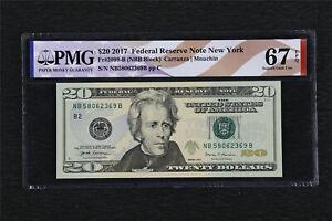 2017 Federal Reserve Note New York 20 Dollars Fr#2099-B PMG 67 EPQ Gem UNC