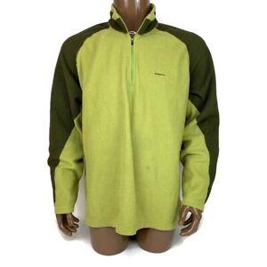 Patagonia Mens XL Capilene 1/4 Zip Green Fleece Pullover Top Jacket, Has Stains