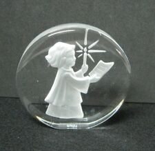 1978 Danbury Mint Christmas Glass Paperweight Child w Candle