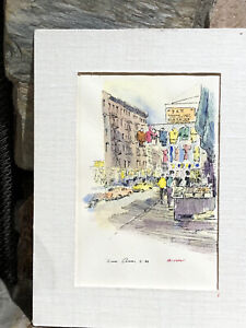BRUCE ARVON Orchard Street, New York Pen And Water Color Matted, Signed 4x6