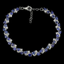 Sterling Silver 925 Genuine Rich Blue Sapphire Gemstone Bracelet 7.25-8.75 Inch