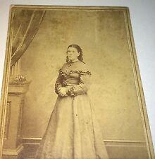 Antique American Civil War Era Victorian Fashion Lady! Wapello, Iowa CDV Photo!