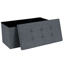 Grey Linen Folding Ottoman Pouffe Foot Padded Seat Stool Storage Box Double