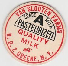 MILK BOTTLE CAP. VAN SLOOTEN FARMS. GREENE, NY. DAIRY