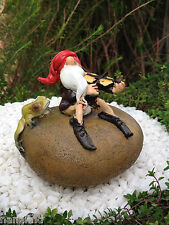 Miniature Dollhouse FAIRY GARDEN ~ Gnome on Rock Playing Fiddle with Frog ~ NEW