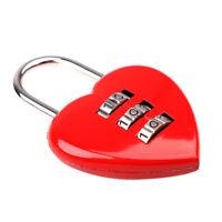 3 Digit Code Lock Heart Padlock Luggage Bag Resettable Password Red Cute