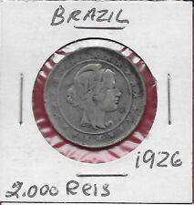 BRAZIL REP 2000 REIS 1926 VF SILVER,LAUREATE LIBERTY HEAD,RIGHT,DENOMINATION