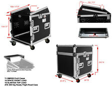 ProX T-12MRSS DJ Rack 12U Bottom x 10U Mixer Slanted Top Flight Case w/ Wheels