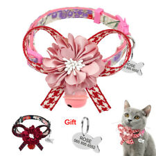 Fancy Big Flower Personalized Breakaway Cat Collar & Tag Engraved Quick Release