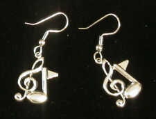 Treble Clef & Music Note Earrings Silver Plate Music Orchestra Band Symphony