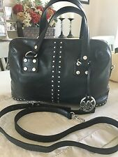 PRICE LOWERED! Micheal Kors Silver Studded Astor Black leather Large Satchel