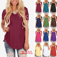 Women Summer T Shirt Short Sleeve V Neck Plus Size Solid Blouse Casual Loose