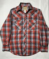 Wrangler Men's Western Fashion Pearl Snap Red Plaid Long Sleeve Shirt Size M