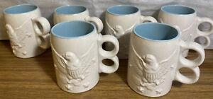 Set Of 6 Vintage Chatham Pottery American Eagle /Star Mugs 3-D  Blue & White