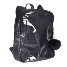 Fashion Cute Transparent Clear Candy Jelly Black Cat Ears Shoulders Backpack