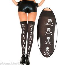 Black Thigh High Stockings White Skull & Crossbone Design Womens Pirate Costume