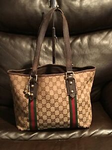 GUCCI Sherry Line Tote Bag GG Canvas Beige/Brown 137396 Red/green Design
