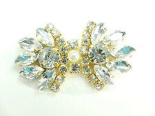 "Rhinestone Applique Crystal Stones Gold Setting Pearl Bridal Patch 2"" GB826"