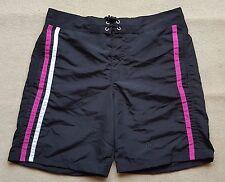 ACCLAIM Mens Bermuda Shorts Small Mesh Liner Stripe Peach Feel Black Cerise