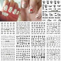 Nail Sticker Love Text English Letter Number Art Water Transfer Black Decal/