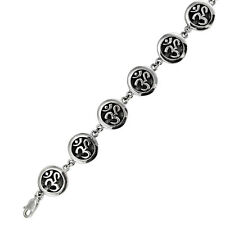 Sterling Silver OM AUM Symbol Link Bracelet Hindu Buddhist Yoga Ohm Jewelry