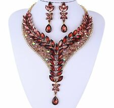 IVY BURGUNDY AUSTRIAN RHINESTONE CRYSTAL STATEMENT NECKLACE EARRINGS SET N999