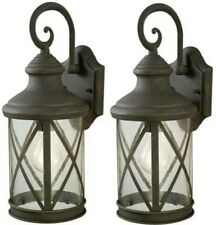 """Set 2 Large 16"""" Bronze Weathered Patina Outdoor Wall Light Seeded Glass Lantern"""