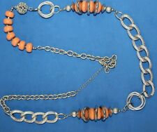 NY 40 inch sliver tone orange stone LARGE CHUNKY chain link necklace