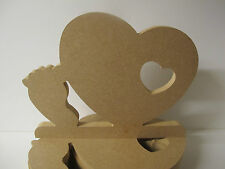 Wooden Heart With Baby Foot. Ex Large Free Standing. Quality