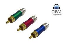 2x conectores Cinch rojo cinchstecker azul verde-RCA plugs bicolor dorado-gama alta