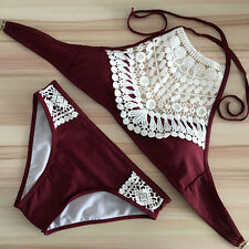Damen Neckholder Crop Bikini Set Push Up Gepolsterte Bademode Badeanzug Swimwear