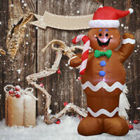 Inflatable Christmas Santa Claus Gingerbread Snow Man Decoration Hold a Candy WE