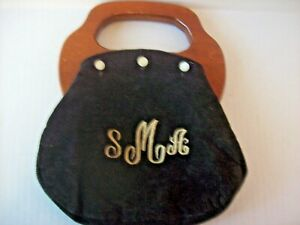 Vintage 80's Preppy Bermuda Bag Purse Wooden Handle with Buttons Navy Cover