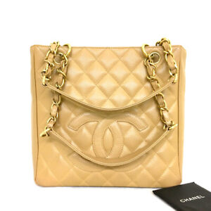 CHANEL Beige Petite Shopping Quilted Caviar Skin Chain Shoulder Tote Bag/90598