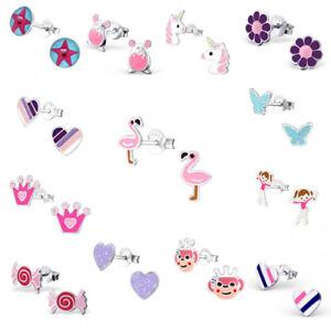 925 Sterling Silver Earrings Studs Girls Kids Flamingo Unicorn Heart Flower Star