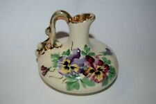 Small vintage pitcher shaped vase Hand Painted Pansies