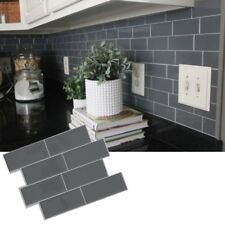 4pcs 3D Grey Subway Tile Peel And Stick Self Adhesive Wall Sticker Home Decor