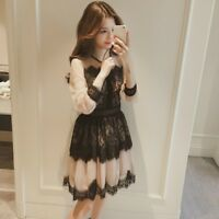 Women Ladies Lace Hollow Out Flower Dress Mesh Midi Vintage Fairy Prom Party New