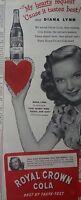 1944 Royal Crown RC Cola Soda Bottle Diana Lynn Hearts Were Young Gay Star Ad