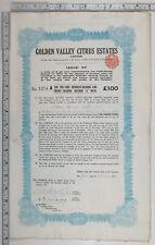 1923 Antique Share Certificat Doré Valley Agrumes Estates Limitée