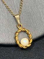 """Vintage 12 karat gold filled real pearl Pendant Necklace 18"""""""