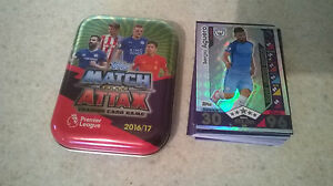 Match Attax 2016/17 Tin + 50 cards + Limited Edition Sergio Aguero Silver